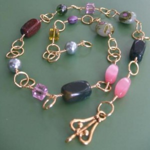 Simple Wire Wrapped Bead Necklace