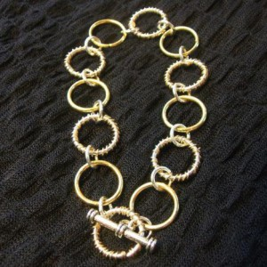 Two Tone Wire Wrapped Jump Ring Bracelet