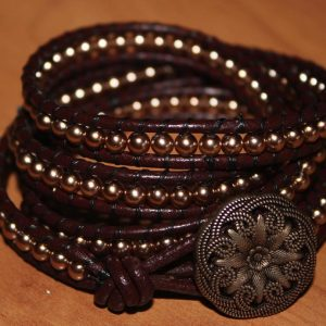 Chocolate & Gold Wrap Bracelet Jewelry Idea