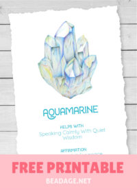 Aquamarine Free Printable Gemstone Properties Card #gemstones #crystals