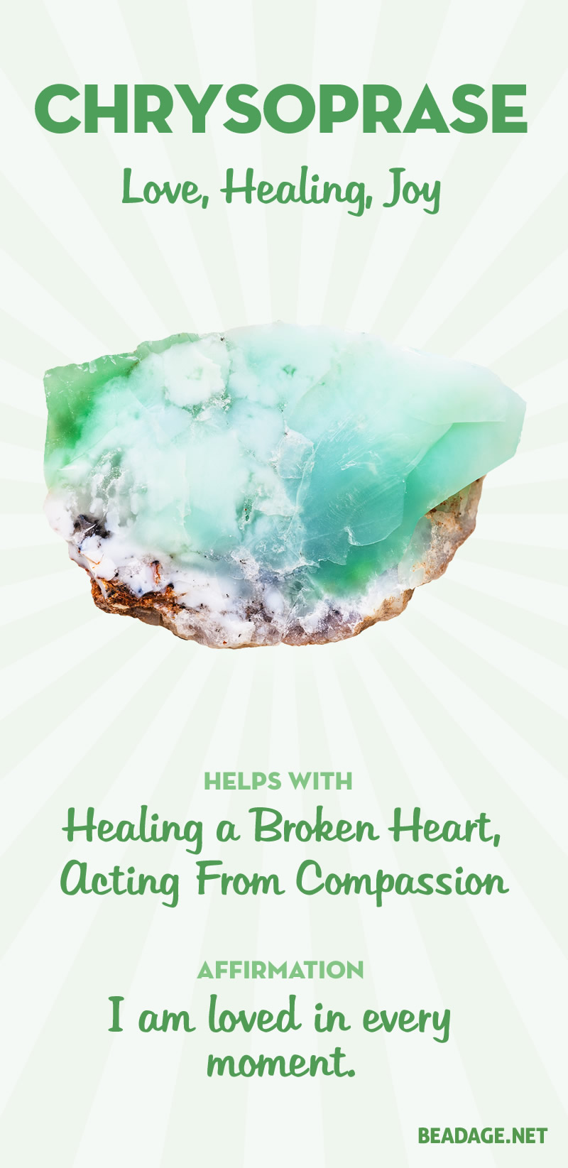 Chrysoprase Meaning & Healing Properties | Learn gemstone meanings, gemstone information, crystal healing, stone powers, chakra stones, & chrysoprase benefits. Get some positive energy & vibes! #gemstones #crystals #crystalhealing #beadage  #chrysoprase
