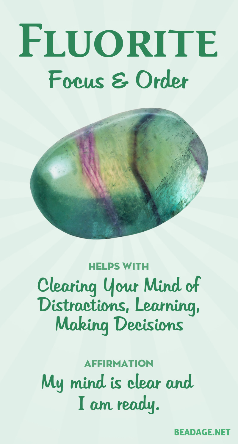 Fluorite clears and clarifies mental clutter. If you are confused and distracted by too many ideas, or worries about the future, fluorite will put your mental mess in order, enabling you to focus on what really matters. It's a support for work that involves making subtle distinctions, or a lot of decisions in quick succession. Learn more about Fluorite meaning + healing properties, benefits & more.