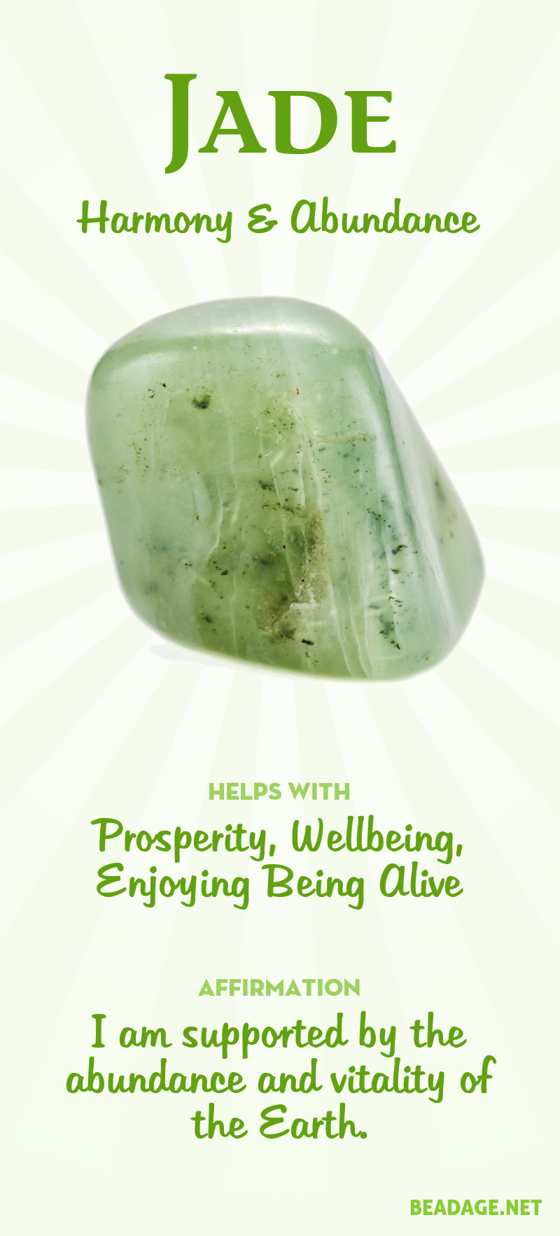 Jade Meaning & Healing Properties | Learn about gemstones and crystal healing and jewelry at beadage.net. #gemstones #crystals #crystalhealing #jade