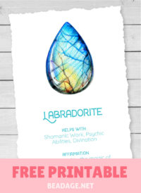 Labradorite Free Printable Gemstone Properties Card #gemstones #crystals