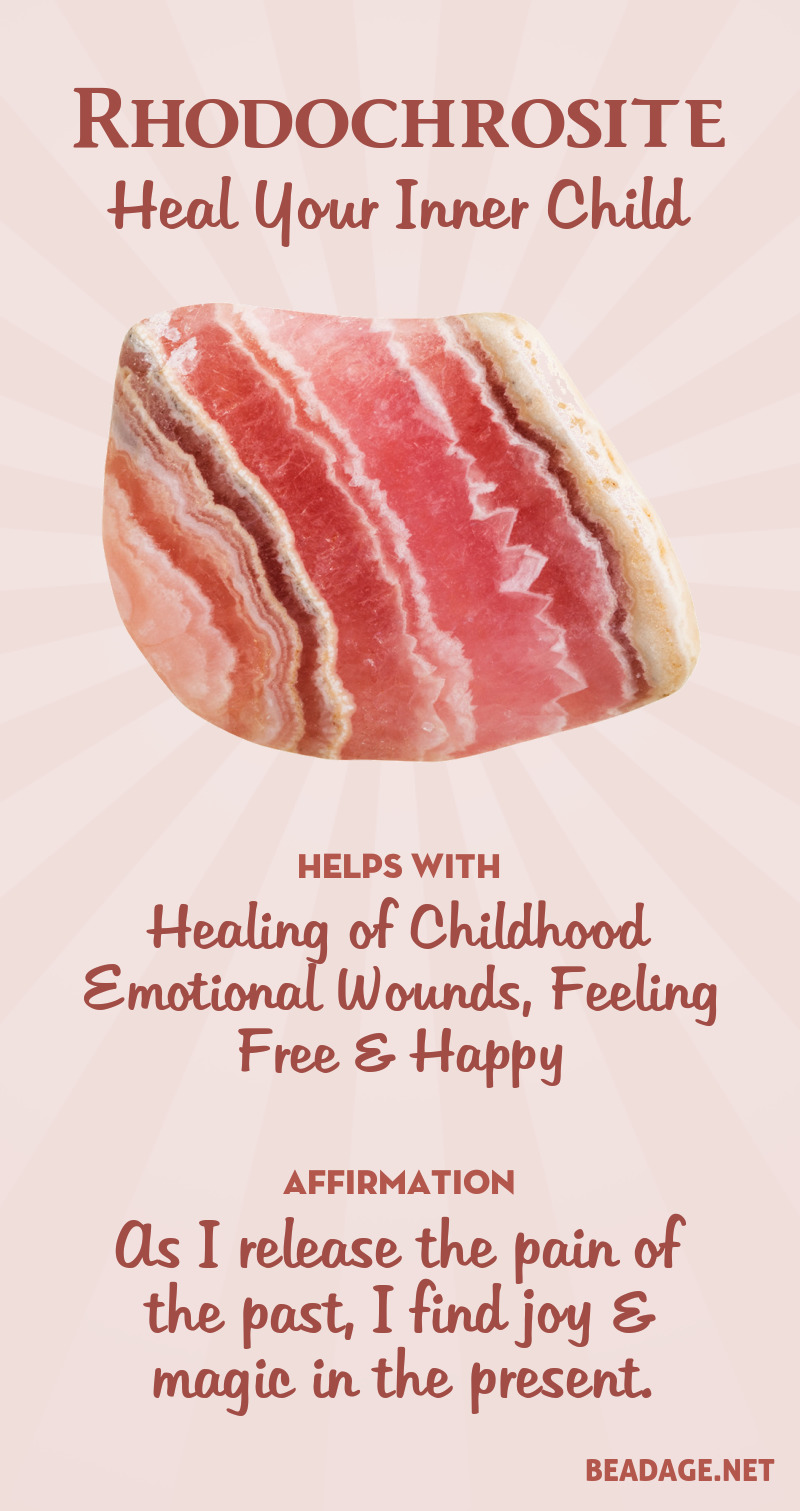 Rhodochrosite is a powerful stone for emotional healing. It helps you gently revisit painful childhood memories, heal the past, and reclaim the parts of yourself that you may have suppressed or disowned for emotional survival. It is also a stone of joy and nurturing, helping you access the freedom and magic of a child when they feel safe and loved. Learn more about Rhodochrosite meaning + healing properties, benefits & more.