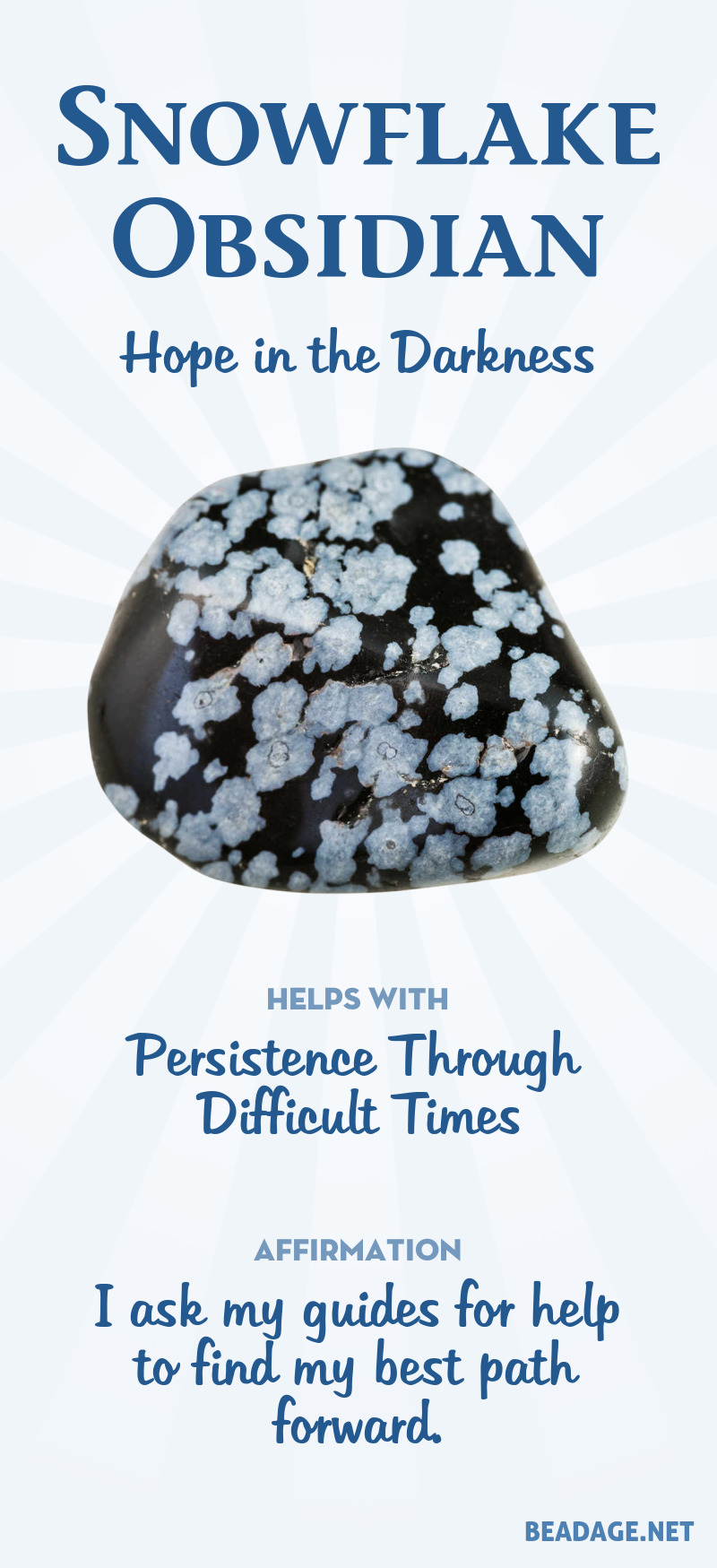 Snowflake Obsidian Meaning & Healing Properties | Learn about gemstones and crystal healing and jewelry at beadage.net. #gemstones #crystals #crystalhealing #snowflake obsidian