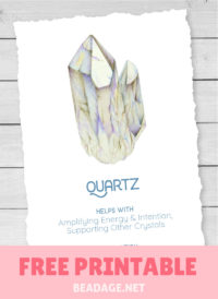 Quartz Free Printable Gemstone Properties Card #gemstones #crystals