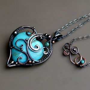 Love Pendant – Wire Wrapped Turquoise Pendant Jewelry Idea