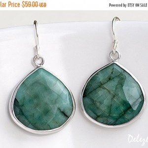 Shop Emerald Earrings! Sterling Silver Raw Emerald Earrings, May Birthstone Earrings, Dangle Earrings Silver, Holiday Gift Ideas, Statement Earrings, Birthday Gift | Natural genuine gemstone jewelry in modern, chic, boho, elegant styles. Buy crystal handmade handcrafted artisan art jewelry & accessories. #jewelry #beaded #beadedjewelry #product #gifts #shopping #style #fashion #product