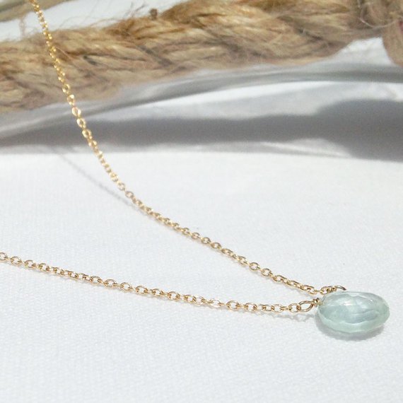 Aquamarine Necklace, March Birthstone, Gold Aquamarine Necklace, Simple Gemstone Necklace, 14k Gold Filled, Dainty Necklace
