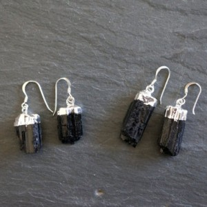 SALE / Raw Tourmaline Earrings / Silver Tourmaline Earrings   Black Tourmaline Earrings / Raw Tourmaline Earrings