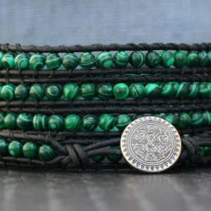 wrap bracelet- malachite and black leather- beaded leather wrap bracelet – boho mens or womens