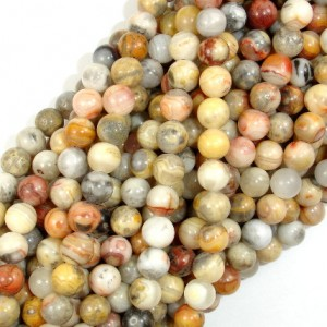 Crazy Lace Agate Beads, Round, 6 Mm, 16 Inch, 1 Strand, Approx 65 Beads, Hole 0.8 Mm, A+ Quality (202054015)