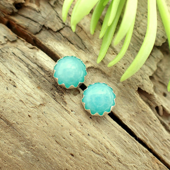 Amazonite Cabochon Studs, 14k Gold Stud Earrings Or Sterling Silver Amazonite Studs - 6mm Low Profile Serrated Or Crown Earrings