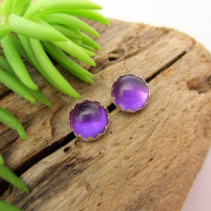 Non-faceted Lilac Amethyst Earrings, Real Gems In White Gold, Rose Gold, Yellow Gold, Or Silver, 6mm – Free Gift Wrapping