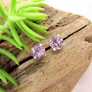 Amethyst Studs – Genuine Amethyst Stud Earrings, Real 14k Gold, Platinum, Or Sterling Silver – 4mm, 6mm