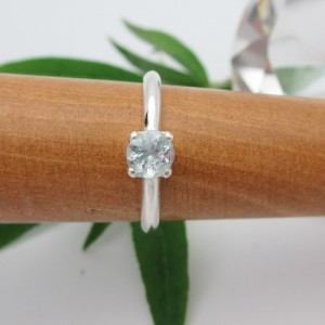 Aquamarine Ring In Sterling Silver, Round Faceted Gemstone – Free Gift Wrapping