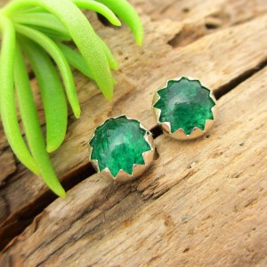 Non-faceted Aventurine Earrings, Real Gems In White Gold, Rose Gold, Yellow Gold, Or Silver, 6mm – Free Gift Wrapping