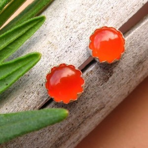 Carnelian Cabochon Studs, 14k Gold Stud Earrings or Sterling Silver Orange Carnelian Studs – 4mm, 6mm Low Profile Serrated or Crown Earrings | Natural genuine Carnelian earrings. Buy crystal jewelry, handmade handcrafted artisan jewelry for women.  Unique handmade gift ideas. #jewelry #beadedearrings #beadedjewelry #gift #shopping #handmadejewelry #fashion #style #product #earrings #affiliate #ad