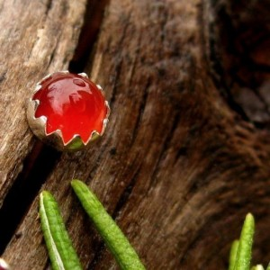 Carnelian Stud Earrings, Red Cabochon Earrings In Silver, 6mm