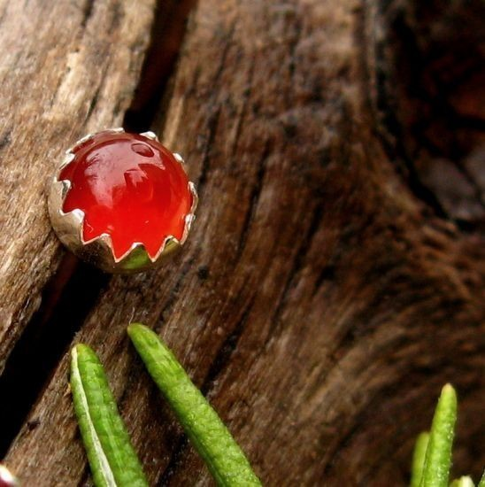 Carnelian Cabochon Studs, 14k Gold Stud Earrings Or Sterling Silver Red Carnelian Studs - 4mm, 6mm Low Profile Serrated Or Crown Earrings
