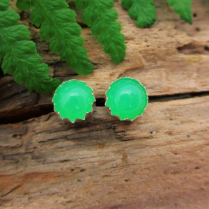 Shop Chrysoprase Jewelry! Chrysoprase Stud Earrings | 14k Gold or Sterling Silver Cabochons | Low Profile Serrated or Crown Setting | Gem Grade | Natural genuine Chrysoprase jewelry. Buy crystal jewelry, handmade handcrafted artisan jewelry for women.  Unique handmade gift ideas. #jewelry #beadedjewelry #beadedjewelry #gift #shopping #handmadejewelry #fashion #style #product #jewelry #affiliate #ad