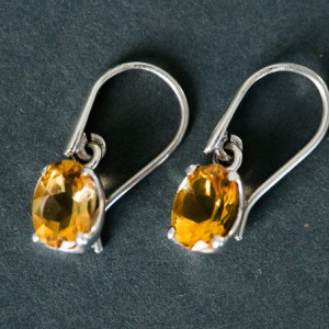 Citrine Dangle Earrings – Citrine and Sterling Silver dangle earrings – Citrine Earrings – Sterling Silver Citrine Earrings – Citrine