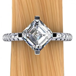 Platinum Asscher Diamond Engagement Ring, One Carat Modern Melee Setting – Free Gift Wrapping