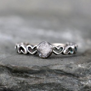 Shop Raw Diamond Engagement Rings! Uncut Diamond Heart Design Band Engagement Ring – Rough Raw Diamond Rings – Heart Wedding Set – Promise Rings – April Birthstone | Natural genuine Diamond rings, simple unique alternative gemstone engagement rings. #rings #jewelry #bridal #wedding #jewelryaccessories #engagementrings #weddingideas #affiliate #ad