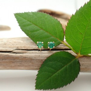 Emerald Earrings In Gold, Silver, Or Platinum With Genuine Gems, 3mm A Quality – Free Gift Wrapping