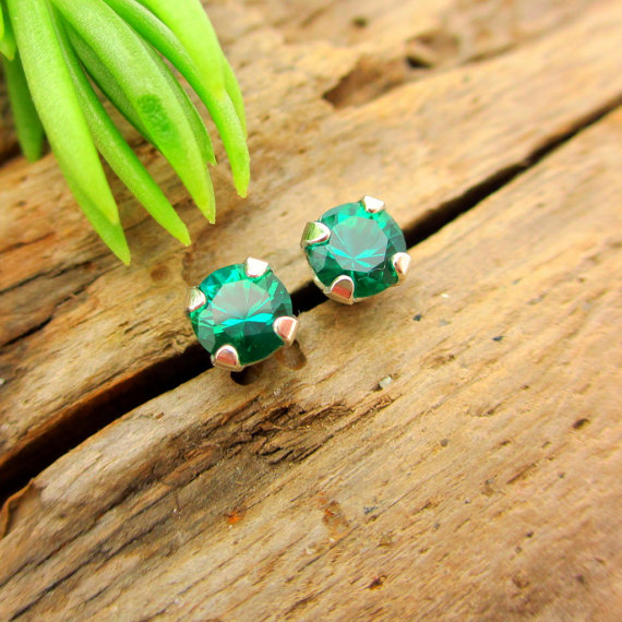 Emerald Earrings: Solid 14k Gold, Platinum, Or Sterling Silver Studs | Lab Grown Gemstones | For Men Or Women | Made In Oregon
