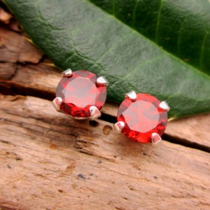 Red Garnet Studs – Genuine Red Garnet Stud Earrings, Real 14k Gold, Platinum, Or Sterling Silver – 3mm, 4mm, 6mm
