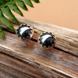 Shop Hematite Jewelry! Hematite Cabochon Studs, 14k Gold Stud Earrings or Sterling Silver Hematite Studs – 4mm, 6mm Low Profile Serrated or Crown Earrings | Natural genuine Hematite jewelry. Buy crystal jewelry, handmade handcrafted artisan jewelry for women.  Unique handmade gift ideas. #jewelry #beadedjewelry #beadedjewelry #gift #shopping #handmadejewelry #fashion #style #product #jewelry #affiliate #ad