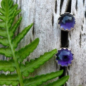 Shop Iolite Jewelry! Iolite Stud Earrings, Blue Cabochon Earrings In Silver, 4mm | Natural genuine Iolite jewelry. Buy crystal jewelry, handmade handcrafted artisan jewelry for women.  Unique handmade gift ideas. #jewelry #beadedjewelry #beadedjewelry #gift #shopping #handmadejewelry #fashion #style #product #jewelry #affiliate #ad