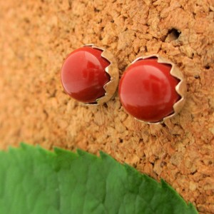 FAIR TRADE Mookaite Jasper Stud Earrings, Brick Red Cabochon Earrings in Silver, 6mm