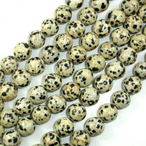 Dalmation Jasper Beads, Round, 10 Mm, 15.5 Inch, Full Strand, Approx 38 Beads, Hole 1 Mm (204054004)