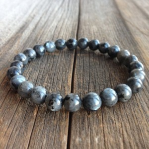 Men's Beaded Bracelet – 8mm Black Labradorite/larvikite Stretch Bracelet