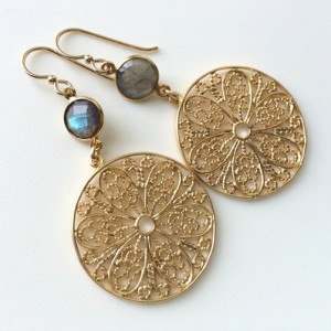 Labradorite Earrings, Labradorite Gold Earrings, Grey Gold Dangles, Faceted Round Labradorite, Gold Filled Wires