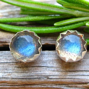 Labradorite Cabochon Studs, 14k Gold Stud Earrings or Sterling Silver Labradorite Studs – 4mm, 6mm Low Profile Serrated or Crown Earrings | Natural genuine Labradorite earrings. Buy crystal jewelry, handmade handcrafted artisan jewelry for women.  Unique handmade gift ideas. #jewelry #beadedearrings #beadedjewelry #gift #shopping #handmadejewelry #fashion #style #product #earrings #affiliate #ad
