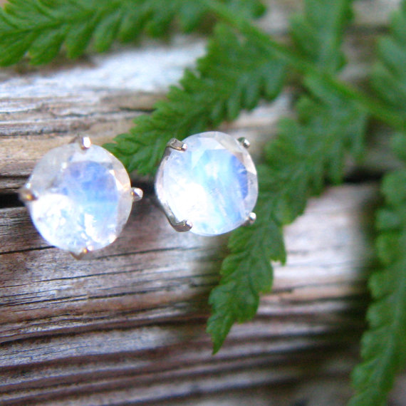 Blue Moonstone Stud Earrings In Gold, Silver, Platinum With Genuine Gems, 6mm