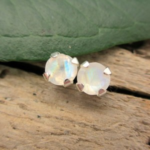 Rainbow Moonstone Stud Earrings In Gold, Silver, Platinum With Genuine Gems, 4mm – Free Gift Wrapping