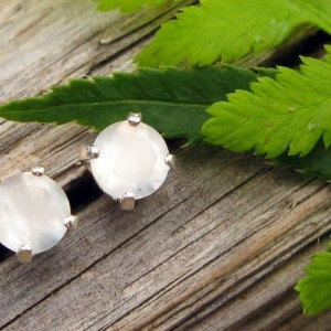 White Moonstone Earrings In Gold, Silver, Platinum, Or Palladium With Genuine Gems, 4mm – Free Gift Wrapping