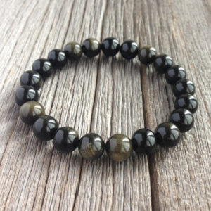 Men's Beaded Bracelet – 10mm Or 8mm Golden Black Obsidian Stretch Bracelet