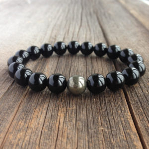 Shop Onyx Bracelets! Men's Beaded Bracelet – 8mm or 10mm Onyx and Pyrite Stretch Bracelet, Gemstone Beaded Bracelet, Stretch Bracelet, M045/M206 | Natural genuine Onyx bracelets. Buy crystal jewelry, handmade handcrafted artisan jewelry for women.  Unique handmade gift ideas. #jewelry #beadedbracelets #beadedjewelry #gift #shopping #handmadejewelry #fashion #style #product #bracelets #affiliate #ad