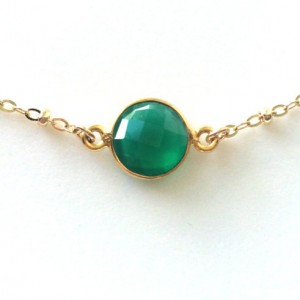 Green Onyx Necklace, Satellite Chain In Gold Filled