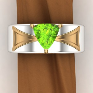 "Shop Peridot Rings! Men's Peridot Trillion Ring | 14k Green & White Gold or Platinum | Geometric Mixed Metal Band | ""Baelfire"" 