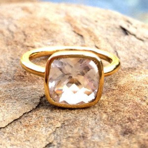 Rock Crystal Ring, Sale 25% Off,  April Birthstone Ring, Rock Crystal Faceted Stackable Ring, Gold Clear Crystal Ring