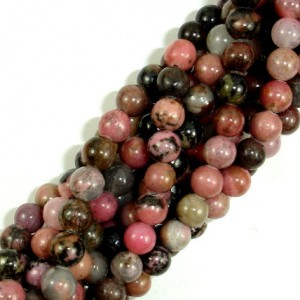 Rhodonite Beads, Round, 6mm (6.5mm), 15.5 Inch, Full strand, Approx 62 beads, Hole 1mm, A quality (386054002) | Natural genuine round Rhodonite beads for beading and jewelry making.  #jewelry #beads #beadedjewelry #diyjewelry #jewelrymaking #beadstore #beading #affiliate #ad