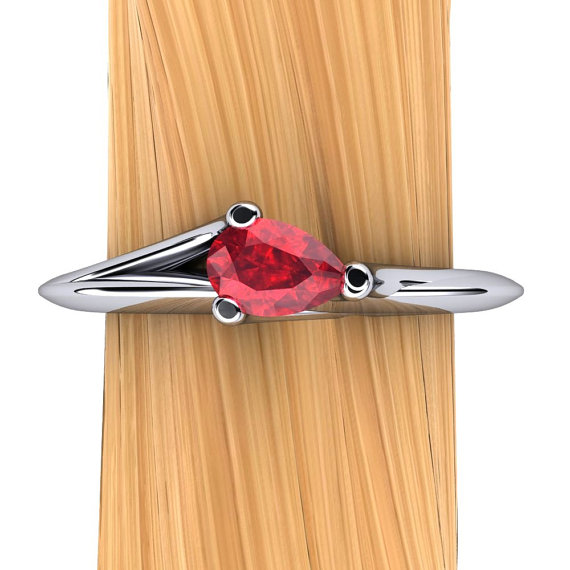 Ruby Ring In Platinum - Pear Shape Natural Genuine Ruby Ring