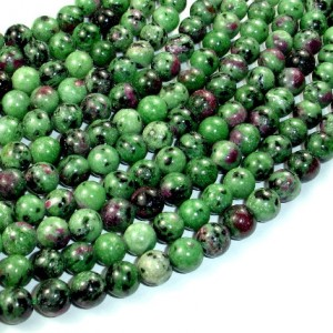 Ruby Zoisite Beads, 8mm(8.3mm) Round Beads, 15.5 Inch, Full strand, Approx 49 beads, Hole 1 mm (394054001) | Natural genuine round Ruby Zoisite beads for beading and jewelry making.  #jewelry #beads #beadedjewelry #diyjewelry #jewelrymaking #beadstore #beading #affiliate #ad